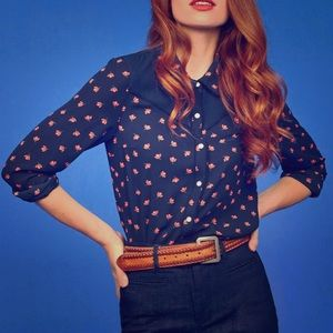 """ModCloth """"Still Indie You"""" Navy Floral Western Top"""